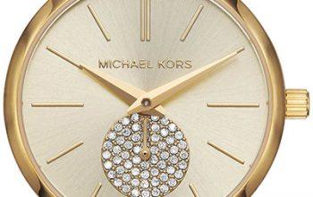 modny zegarek damski ze złotym paskiem