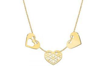 złoty łańcuszek damski z zawieszkami serca